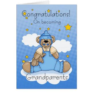 Grandparents New Baby Boy Congratulations Card