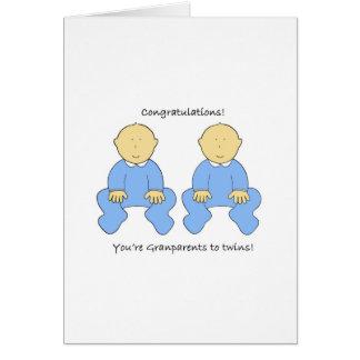Grandparents to twin boys, congratulations. card