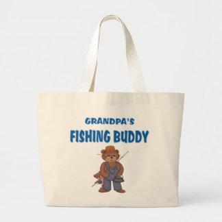 Grandpa's Fishing Buddy Bears Large Tote Bag