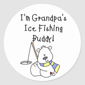 Grandpas Ice Fishing Buddy Classic Round Sticker