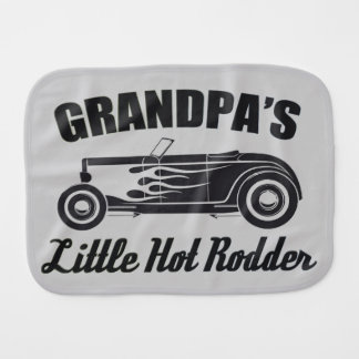 Grandpa's Little Hot Rodder HotRod Grandchild Car Burp Cloth