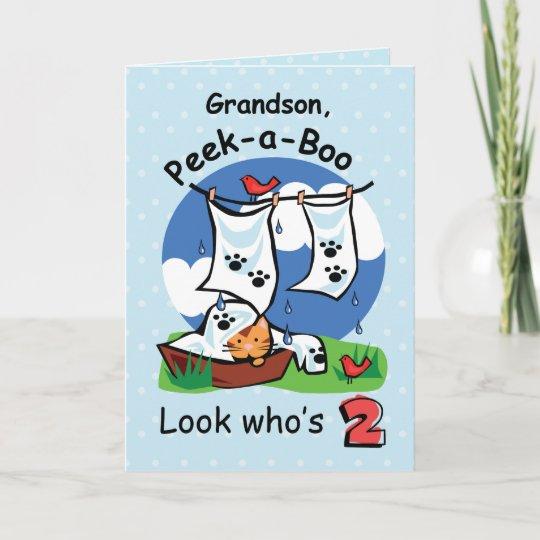 Grandson 2nd Birthday Peek A Boo Kitten Card