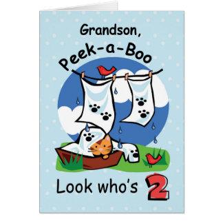 Grandson, 2nd Birthday, Peek-a-Boo Kitten Card