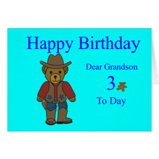 Grandson 3rd Birthday Card
