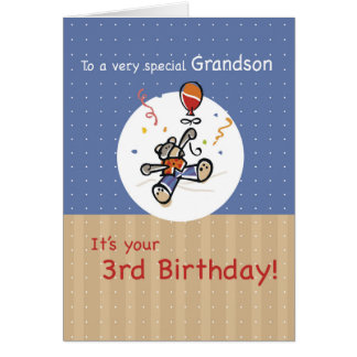 Grandson 3rd Teddy Bear Balloon Birthday Card