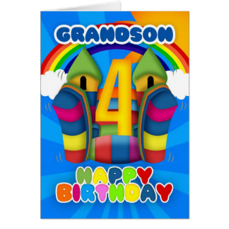 Grandson 4th Birthday Card With Bouncy Castle And