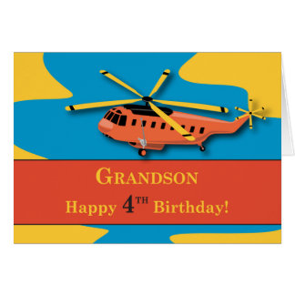 Grandson, 4th Birthday with Helicopter Card