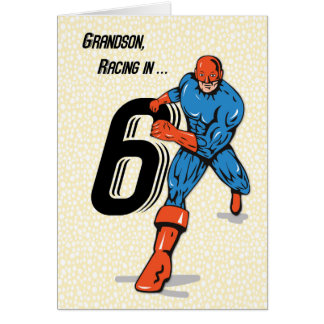 Grandson 6th Birthday Superhero Card
