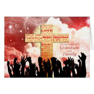 Grandson and family, a Christian cross Christmas Card