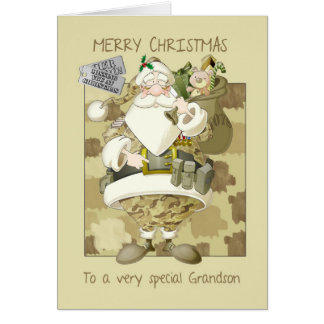 grandson, armed forces military Christmas greeting Greeting Card