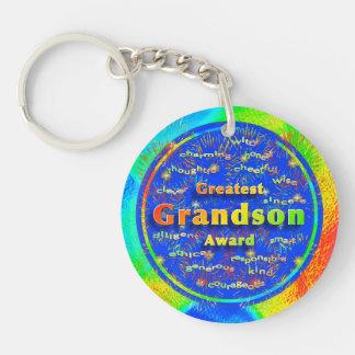Grandson Award Birthday Fireworks Double-Sided Round Acrylic Keychain