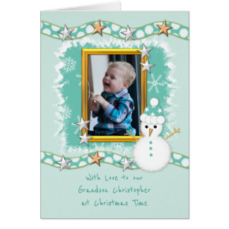 Grandson Christmas snowman photo Card