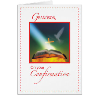 Grandson Confirmation Dove, Bible, Cross Card