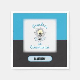 Grandson First Communion, Blue Cup Paper Napkin