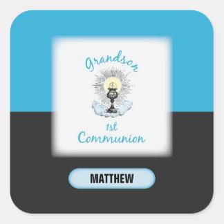 Grandson First Communion, Blue Cup Square Sticker