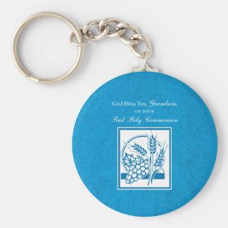 Grandson First Communion Blue, Wheat, Grapes Basic Round Button Keychain