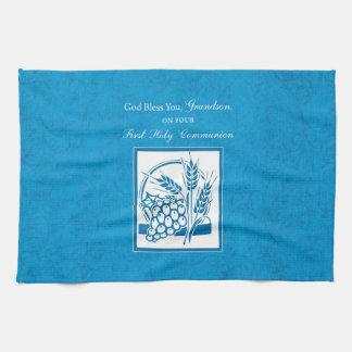 Grandson First Communion Blue, Wheat, Grapes Kitchen Towel