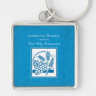Grandson First Communion Blue, Wheat, Grapes Silver-Colored Square Keychain