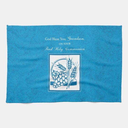 Grandson First Communion Blue, Wheat, Grapes Towel