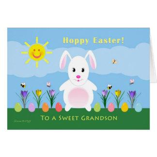 Grandson Hoppy Easter - Easter Bunny Card