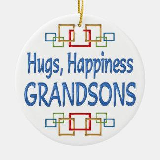 Grandson Hugs Ceramic Ornament