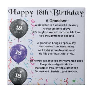 Grandson Poem - 18th Birthday Tile