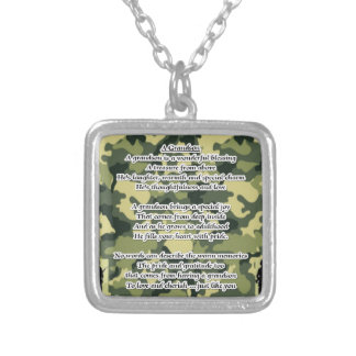 Grandson Poem Army Camouflage Silver Plated Necklace