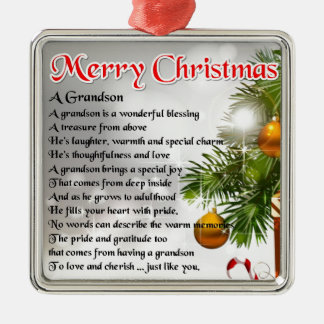 Grandson Poem - Christmas Design Metal Ornament