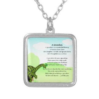 Grandson Poem - Dinosaur Silver Plated Necklace