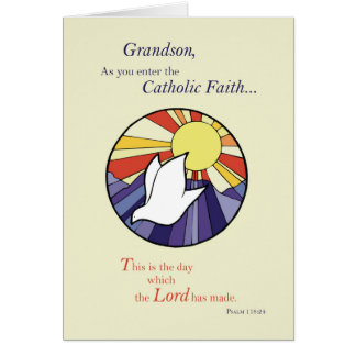 Grandson RCIA Catholic Dove Sun Circle, Rite of Ch Card