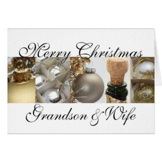 Grandson & Wife merry christmas gold on white chri Card