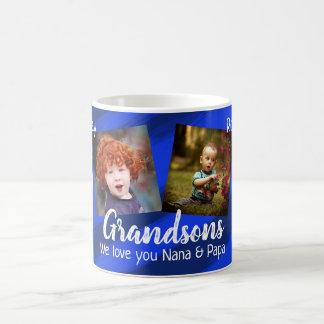 Grandsons Blue Stripes Four Photo Collage Mug