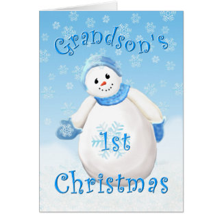 Grandson's First Christmas Snowman Greeting Card