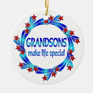 Grandsons Make Life Special Ceramic Ornament