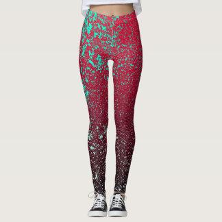 Grange red and green ombre effect leggings. leggings