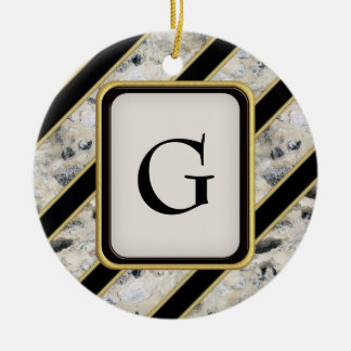 Granite & Gold Ceramic Ornament
