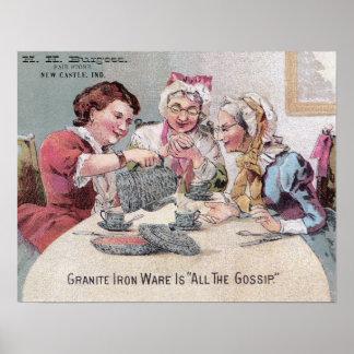 Granite Ironware Gossip Ad w Seller Poster