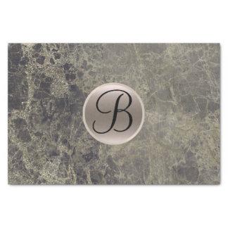 Granite Marble Glam Monogram Letter Initial Tissue Paper