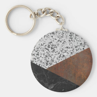 Granite, marble, rusted iron abstract basic round button keychain