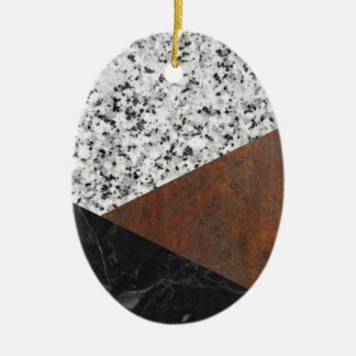 Granite, marble, rusted iron abstract ceramic oval ornament