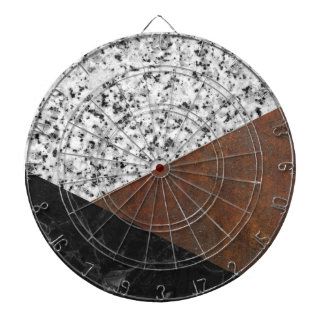 Granite, marble, rusted iron abstract dartboards