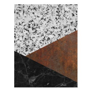 Granite, marble, rusted iron abstract postcard