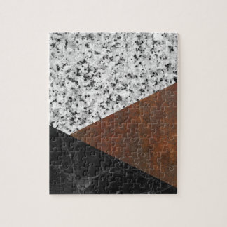 Granite, marble, rusted iron abstract puzzle