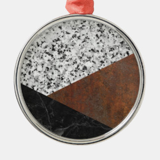 Granite, marble, rusted iron abstract Silver-Colored round ornament