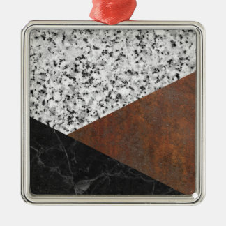 Granite, marble, rusted iron abstract Silver-Colored square ornament