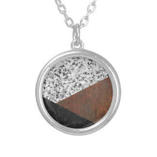 Granite, marble, rusted iron abstract silver plated necklace