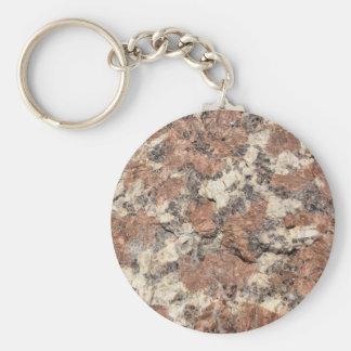 Granite Rock Texture --- Pink Black White - Basic Round Button Keychain