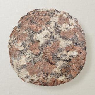Granite Rock Texture --- Pink Black White - Round Pillow