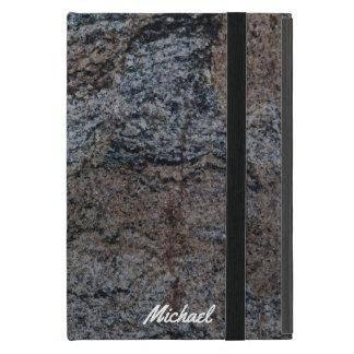Granite stone red black texture iPad mini case
