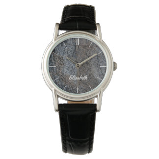 Granite stone red black texture name wrist watch
